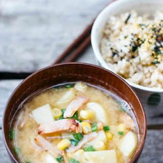 Potato Corn Miso Soup with Bacon