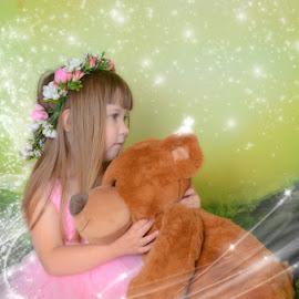 Magic Bear by Chris Cavallo - Digital Art People ( child photography, pink, child portrait, wings, teddy bear, fairy,  )