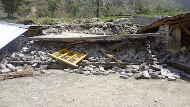Photo: The library constructed by COMMITTED in Kubeshwori Primary School, Gunsa VDC has crumbled as well.