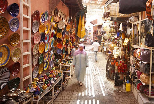 A market in Marrakesh, Morocco.