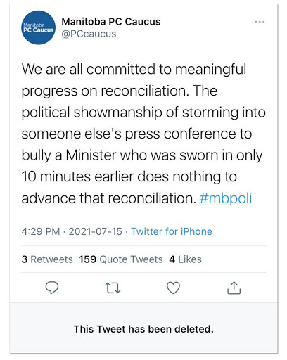 Manitoba PCs Delete Tweet Attacking Wab Kinew For Correcting Their Minister's False Statements About ResidentialSchools