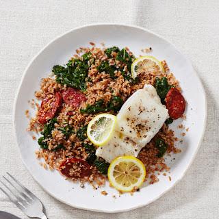 Lemony Baked Cod With Chorizo, Bulgur, and Kale.