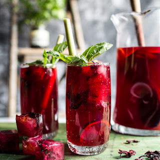 Hibiscus, lemongrass and Basil Honey Sweet Iced Tea..