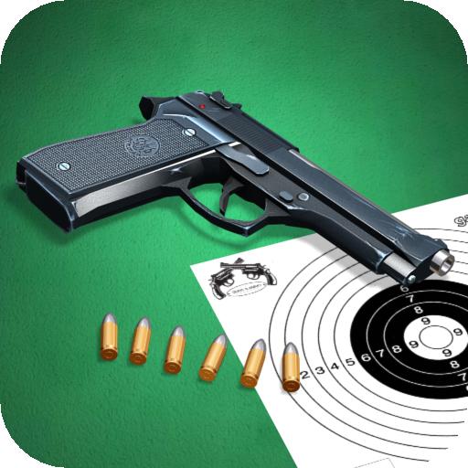 Pistol shooting at the target.  Weapon simulator.