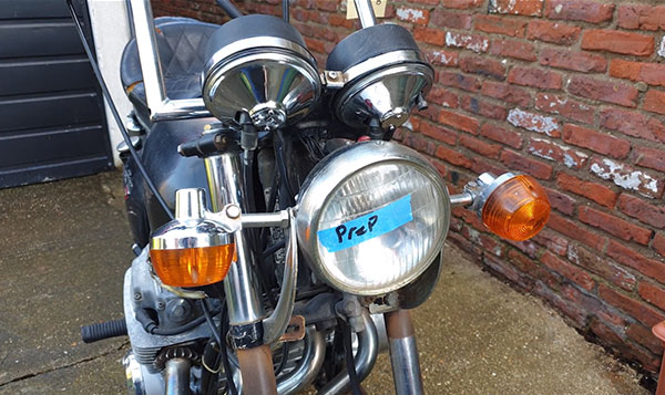 Honda CB750 Restoration Headlight and Handle Bars.