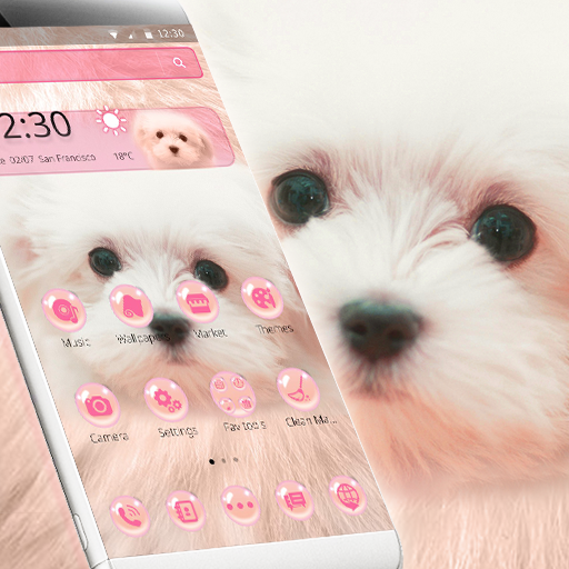 Pink Cute Puppy Theme