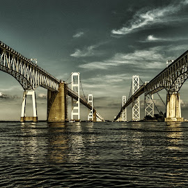 View from Below by Carol Ward - Buildings & Architecture Bridges & Suspended Structures ( annapolis, chesapeake bay bridge, reflection, maryland, architecture, bridge )