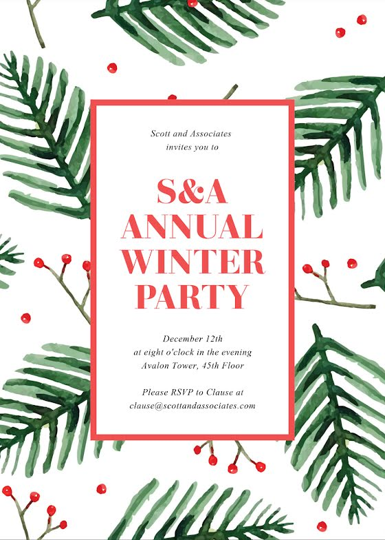 Annual Winter Party - Christmas Card Template
