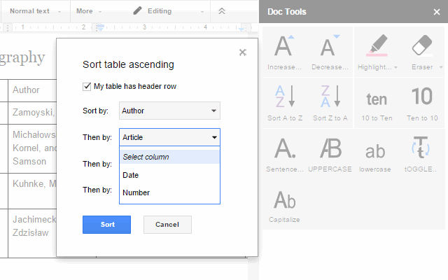 doc tools google docs add on
