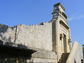 Photo: The first century CE amphitheater's main entrance; the structure was later restored in the third century.