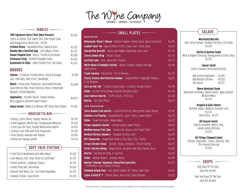 The Wine Company menu 3