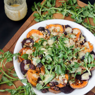 Sweet Potato And Beet Salad With Watercress, Miso-maple Dressing And Salad Topper Lite