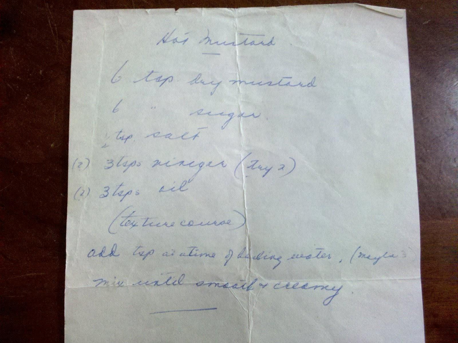 Photo: Hot Mustard Recipe Bubbie Lou's Original Handwritten Recipe