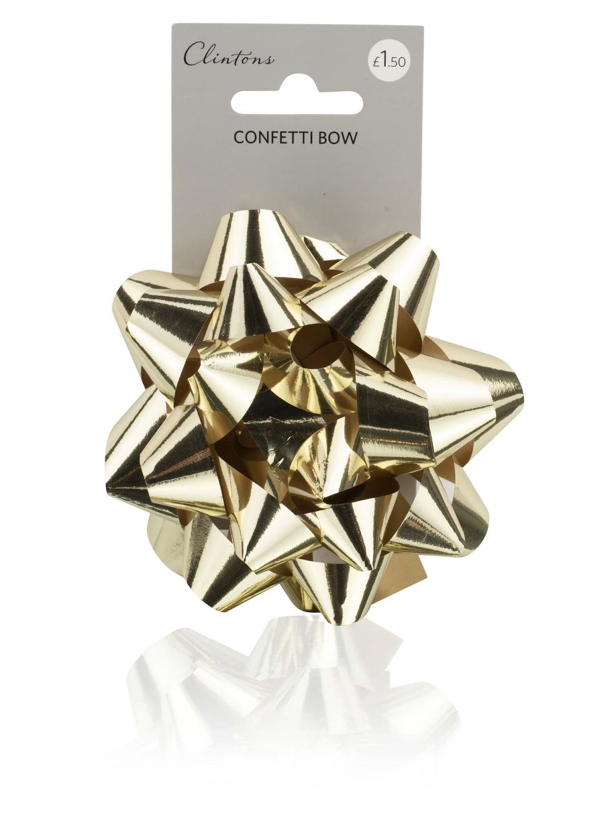 Clintons Metallic Gold Confetti Gift Bow