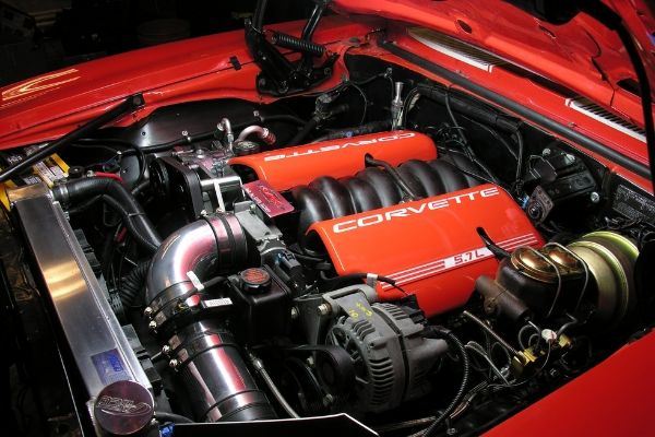 LS1 engine bay in a Corvette