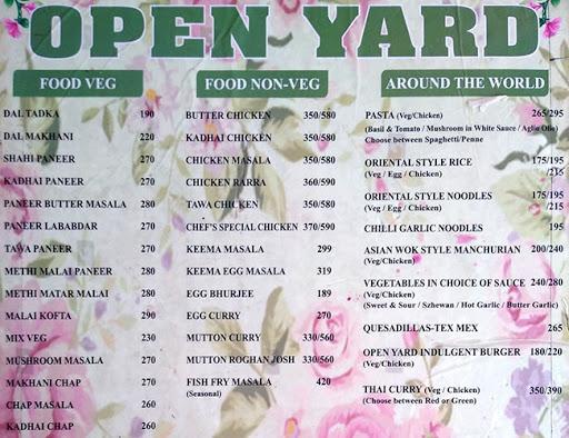 Open Yard menu 1