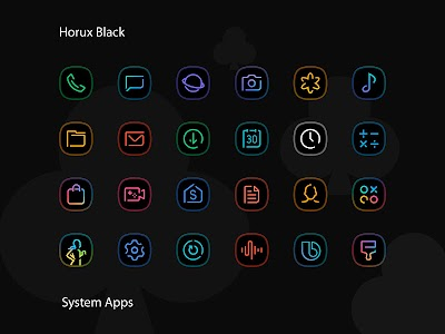 Horux Black - Icon Pack 2.0 (Patched)