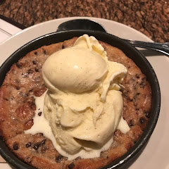 Gf chocolate chip cookie with vanilla ice cream!