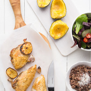 Easy Roasted Chicken with Acorn Squash Salad and Rice