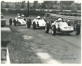 Photo: Last race held at Lake Garnett, Kansas in 1972 The leaders, Bill Noble, Bob Lazier, and Fred Stout are about to cross the damn. As I recall Lazier won. Fred came in to the pit after the corner crew showed him the nose of his car. Fred thought it was a black flag station. Submitted by Fred Storer
