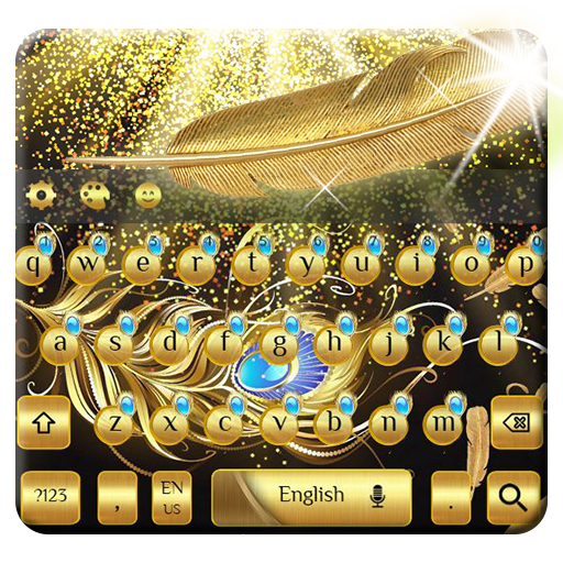 gold feather keyboard luxury golden mask