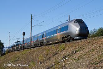 Photo: BM71 Airport Express train (Flytoget), passing Lier outside Drammen