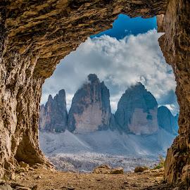 by Mario Horvat - Landscapes Caves & Formations ( dolomites, cave, sunset, trecime, trecimedilavaredo, dolomiti, landscape, summer,  )