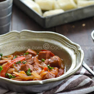 "Salami Guisado Recipe (Dominican ""Salami"" Hotpot)."