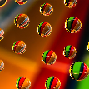 Marble colored water drops by Kathy Dee - Artistic Objects Other Objects ( abstract, modern, red, pattern, colorful, green, art, background, marbles, waterdrops, black,  )