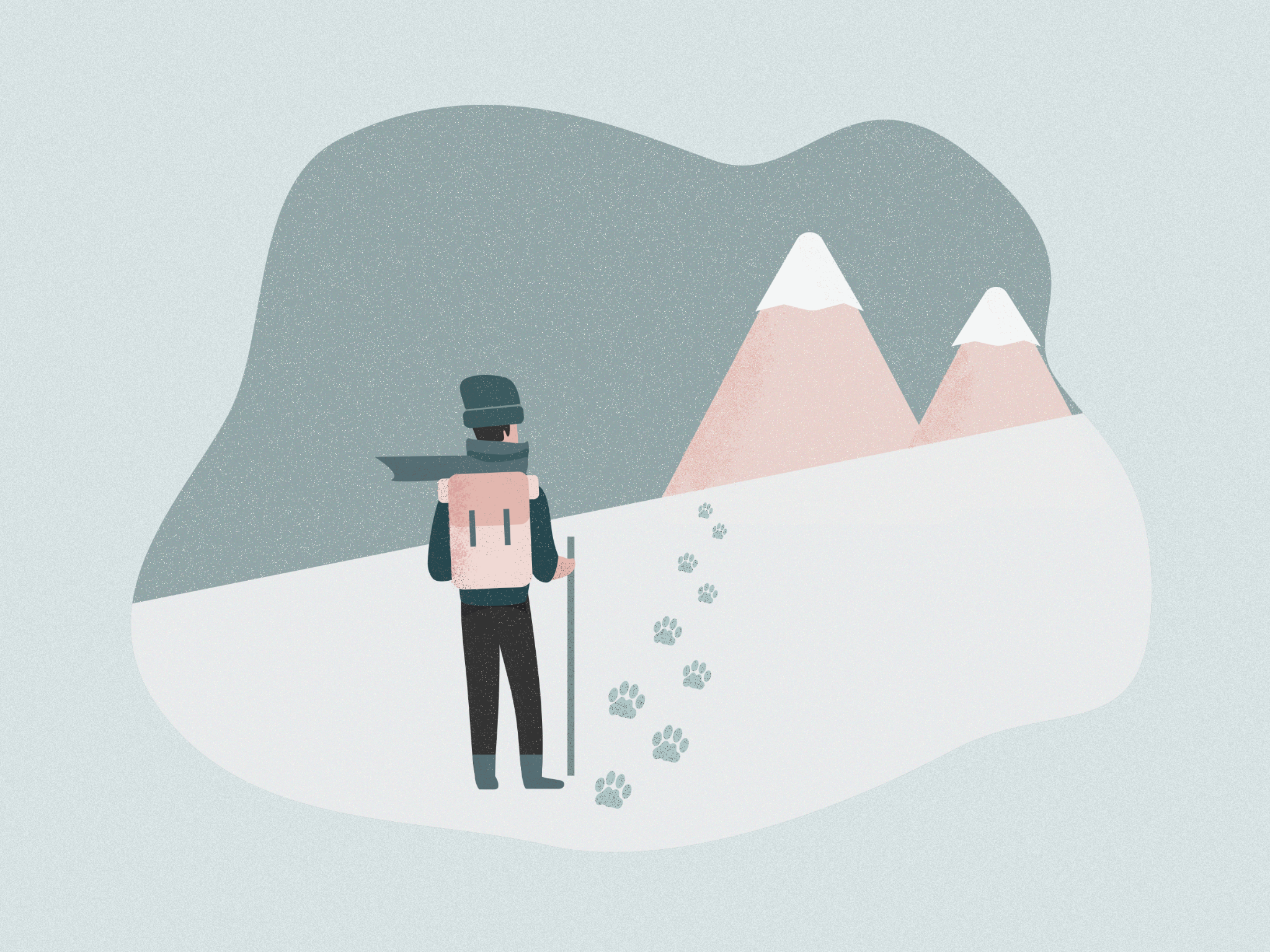 Illustration of guy hiking in mountains