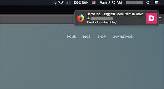 Thông báo chào mừng được hiển thị trên Mac thông qua Firefox