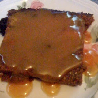 Chocolate Bread Pudding with Caramel Sauce.