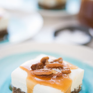 Labneh Cheesecake Bars with Salted Honey Sauce