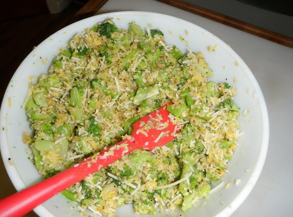 Add the broccoli, garlic, onions and Panko crumbs to the egg/cheese mixture and mix...