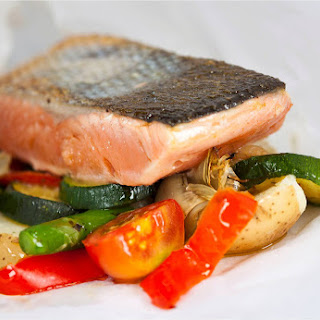 One Dish Roasted Salmon with Vegetables and Rice.