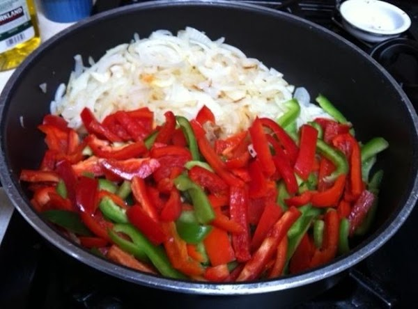 saute peppers and onions