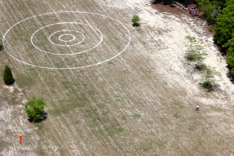Photo: The bull's eye is still looking good!  The grass however is pitiful.  Put 500 pounds of 20-0-20 on it Thursday