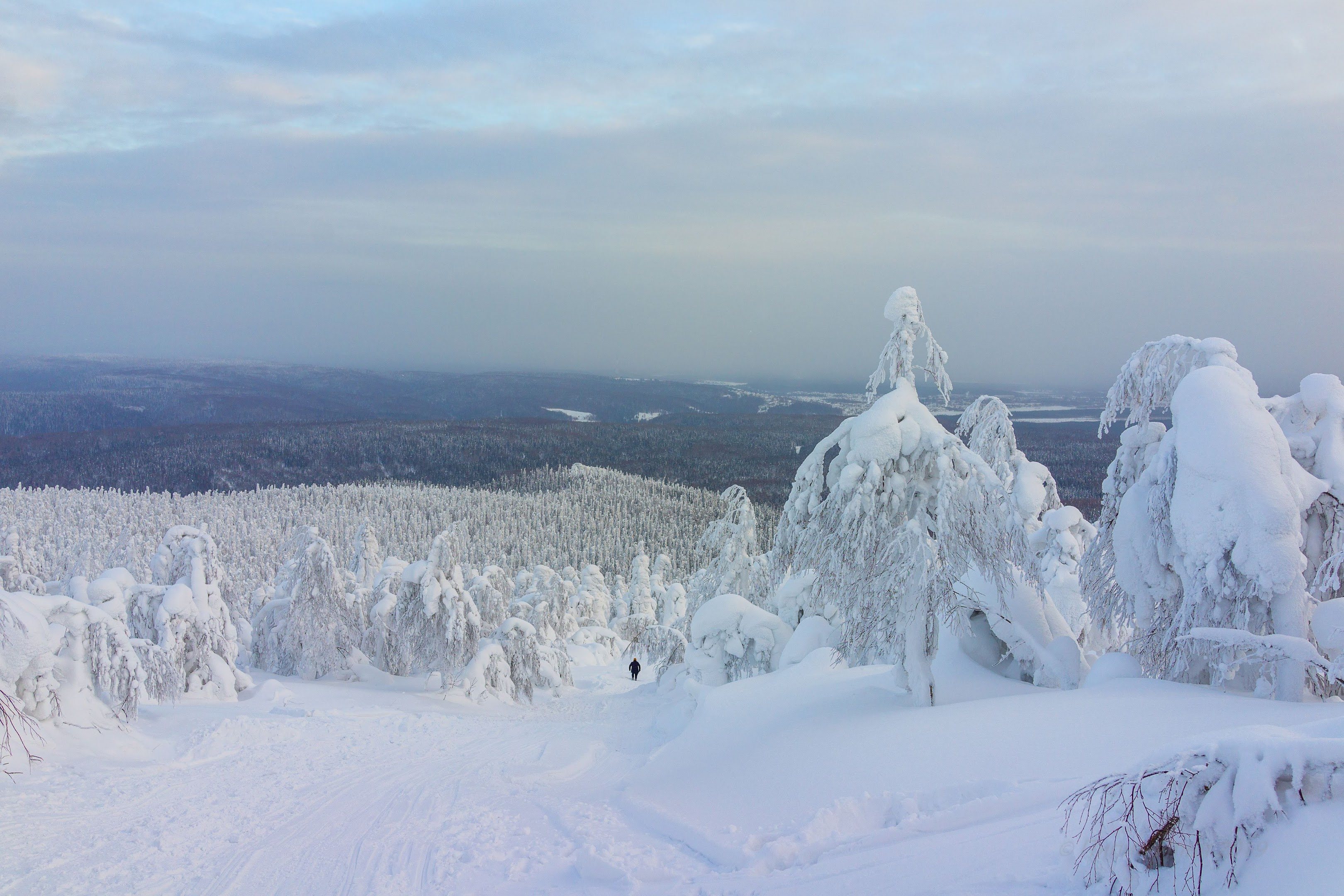 Вид с горы на восточную сторону, сторону Уральских гор. Виден Красновишерск.