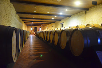 Photo: barrel room for Haut Sarpe winery