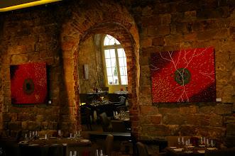 """Photo: Gemälde """"Im Inneren - Aufgewühlt"""" und """"Im Inneren - Zerrissen"""" von Doreen Wolff im großen Gartensaal des Fischrestaurants Kastenmeiers (www.kastenmeiers.de) im Kurländer Palais"""