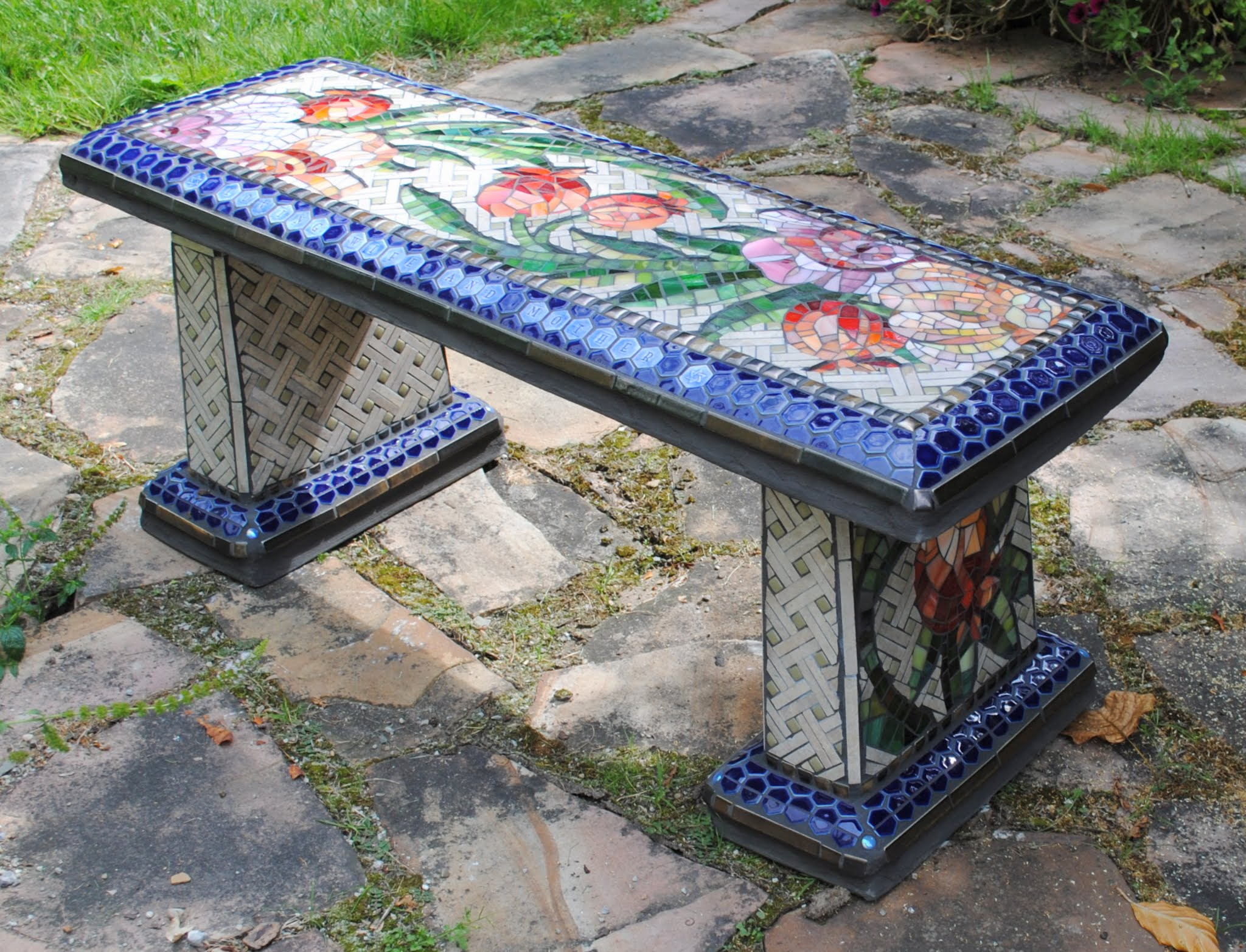 Mosaic Garden Bench -- Rose & Pomegranate