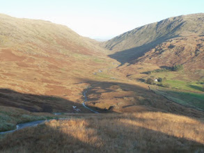 Photo: Hardknott Pass looking back from the summit down towards Wrynose Pass