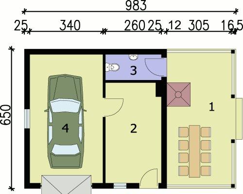 G56 szkielet drewiany garaż jednostanowiskowy z pomieszczeniem gospodarczym, wiatą - Rzut garażu