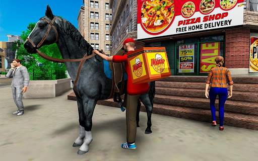 Mounted Horse Riding Pizza Guy: Food Delivery Game android2mod screenshots 6