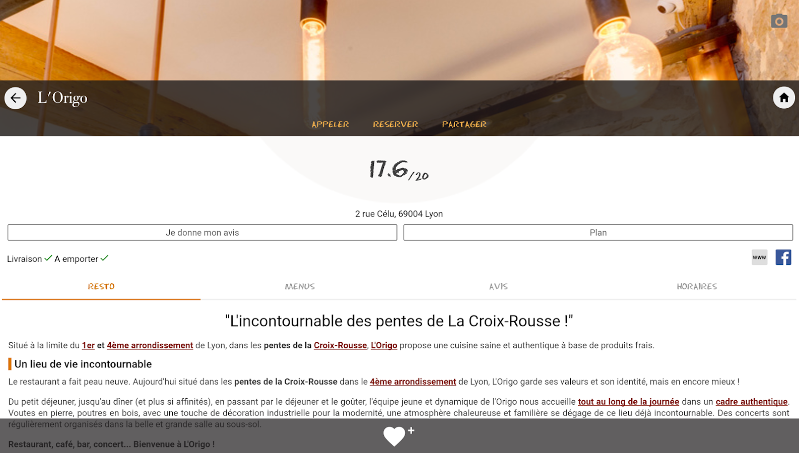 Lyonresto, le guide restaurant – Capture d'écran