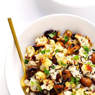 "Roasted Cauliflower, Mushroom and Wild Rice ""Stuffing"" Recipe"