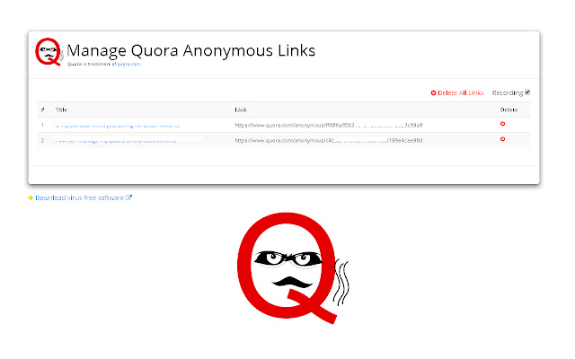 Manage Quora Anonymous Links