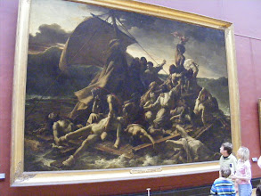 """Photo: The full version of the Raft of the Medusa. From the Louvre's Web site: Romanticism's manifesto, this work caused a huge scandal at the Salon of 1819. For the first time, an artist had depicted an event from contemporary history without having received a commission and had filled his composition with anonymous figures in a format hitherto reserved for historical painting. Precursor of the critical spirit that so often motivates art today, the subject was a caustic statement on the government then in power: in 1816, the frigate """"Medusa"""" sank because of the incompetence of a captain who had obtained his post through political relations. Due to a shortage of lifeboats, 149 people piled onto a raft that drifted for twelve days. Only fifteen survived the ensuing slaughter, madness, and cannibalism. Seen from one corner, the raft appears very unstable, while two diagonals heighten the dramatic tension: one leads the eye to the vast wave that threatens to engulf the raft, the other leads to the tiny silhouette of """"The Argus,"""" the ship that eventually rescued them. This long oblique line evokes the tragedy - the torso of a man who has perhaps been devoured by his companions - and the various psychological states of mind: the dejection of the bewildered man holding his dead son, the dying man rising up with a start, and the desperate hope of those waving to their potential rescuer. But at this point in time, nobody knew which way the scales of fortune would tip. The only hero in this poignant story is humanity, and that is what still moves us today."""