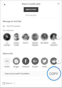 Screenshot of the YouTube embed button.