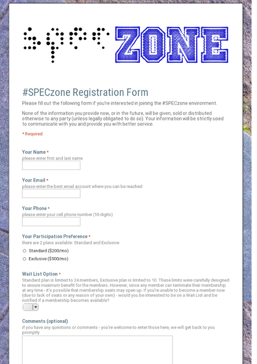 #SPECzone Registration Form